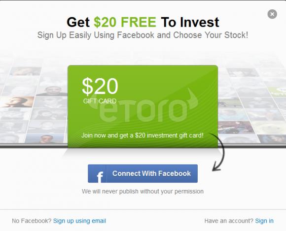 $20 de dolari gratuiti in contul tau real de actionar eToro